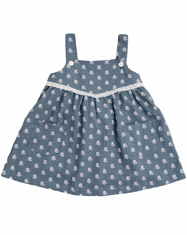 Tabitha Pinafore Upsy Daisy in Moss Crepe - Little Cotton Clothes