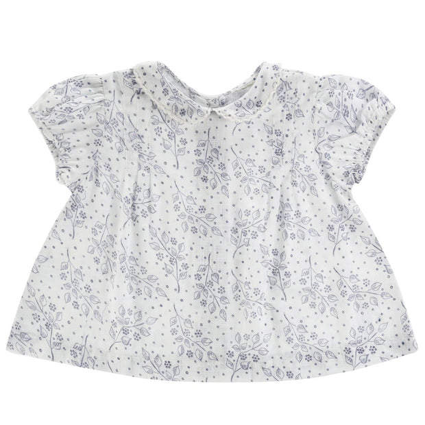 Mabel blouse - blue and white teacup floral - WildLittleFawns