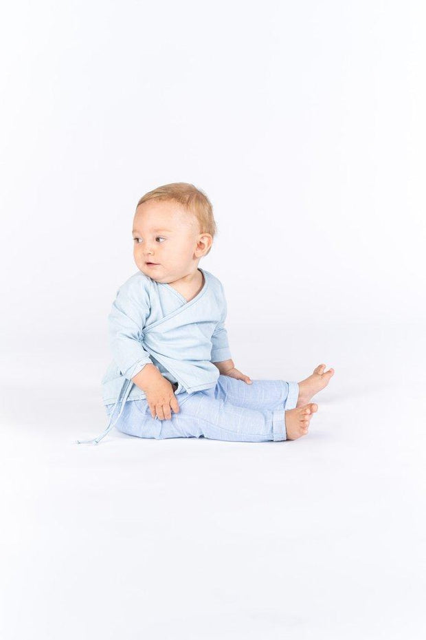 OMAMImini Baby Windowpane Blue Drop Crotch Trousers - WildLittleFawns