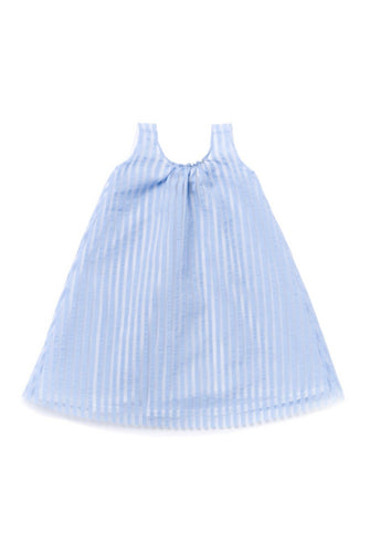 OMAMImini Chambray Layered Dress in Striped Organza - black label - WildLittleFawns