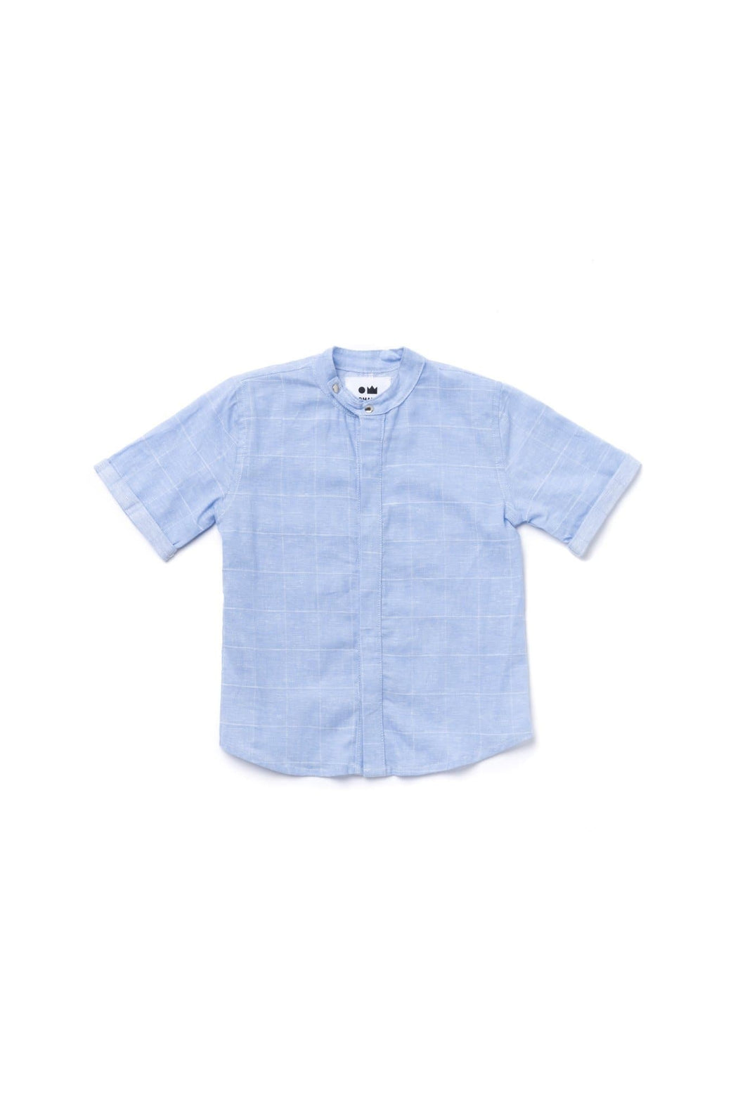OMAMImini Chambray Button Down Shirt - Windowpane Blue - WildLittleFawns