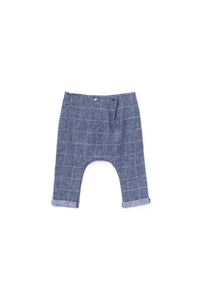 OMAMImini Baby Windowpane Indigo Drop Crotch Trousers - WildLittleFawns