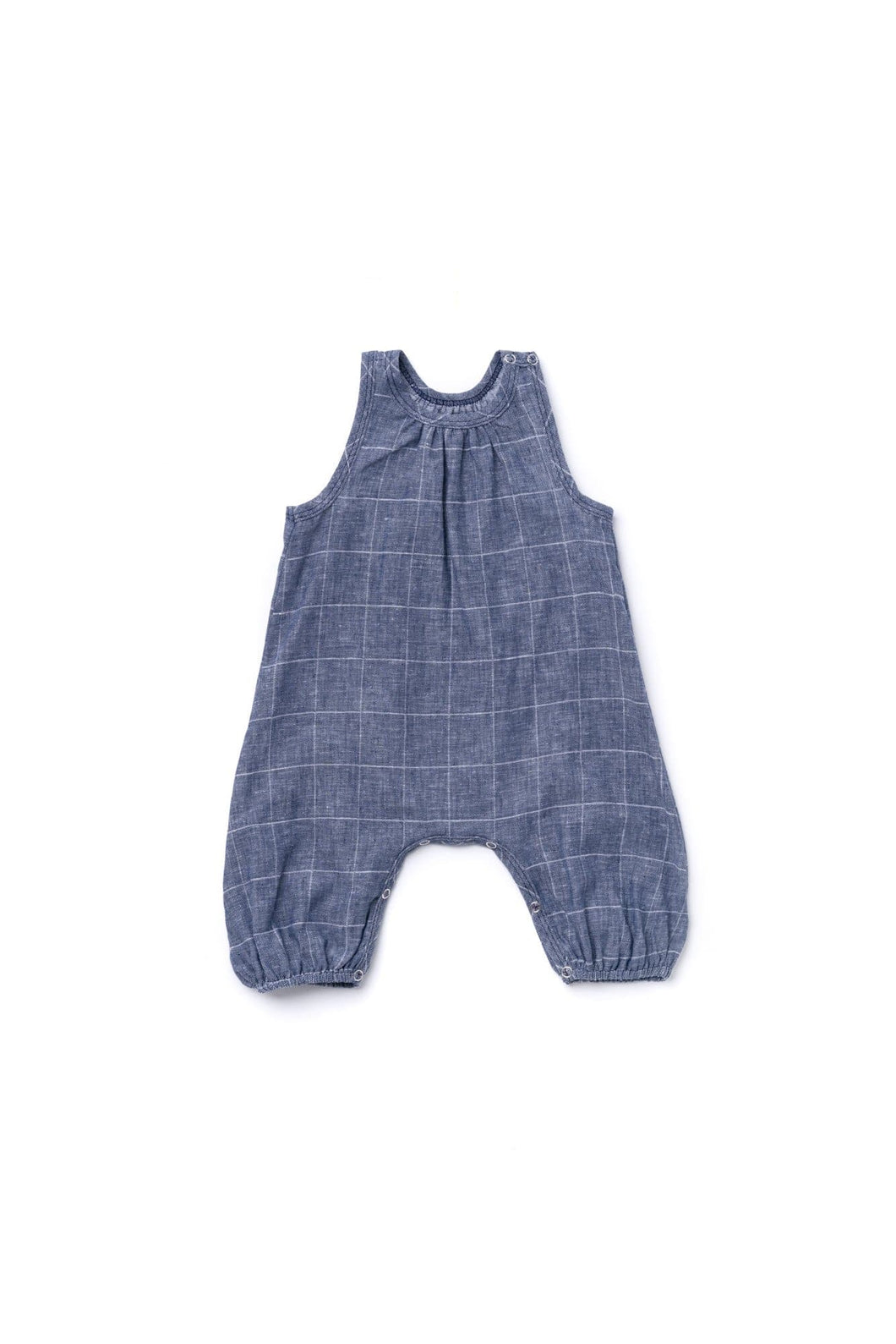 OMAMImini Windowpane Racerback Playsuit - Indigo - WildLittleFawns