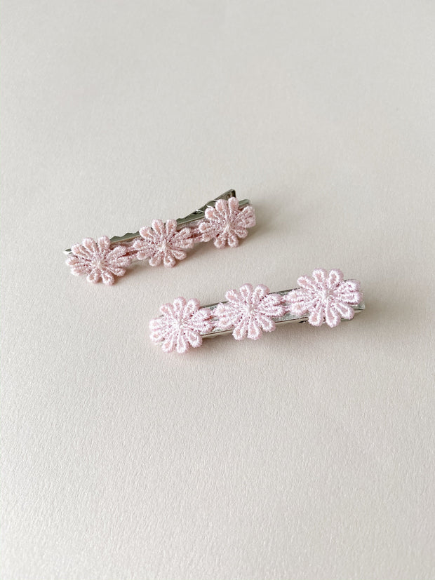 Pink Floral Bar Clip Set - WildLittleFawns
