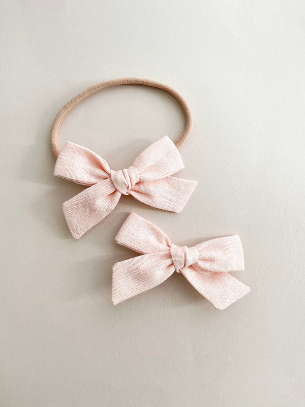 Pink Linen Classic Bow with alligator clip - WildLittleFawns