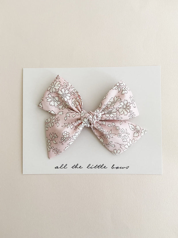 Pink Floral Pinwheel Bow with Alligator Clip - WildLittleFawns