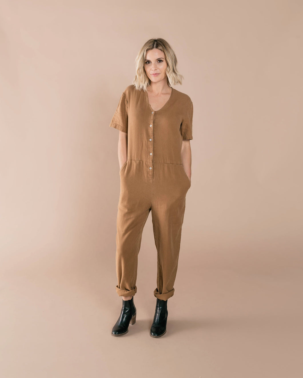 Utility Jumpsuit in Caramel