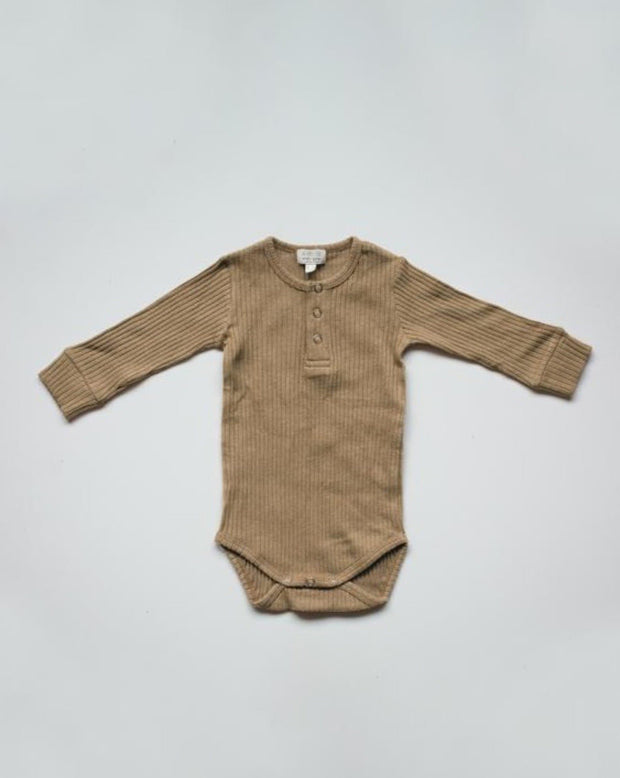The Ribbed Onesie - Camel