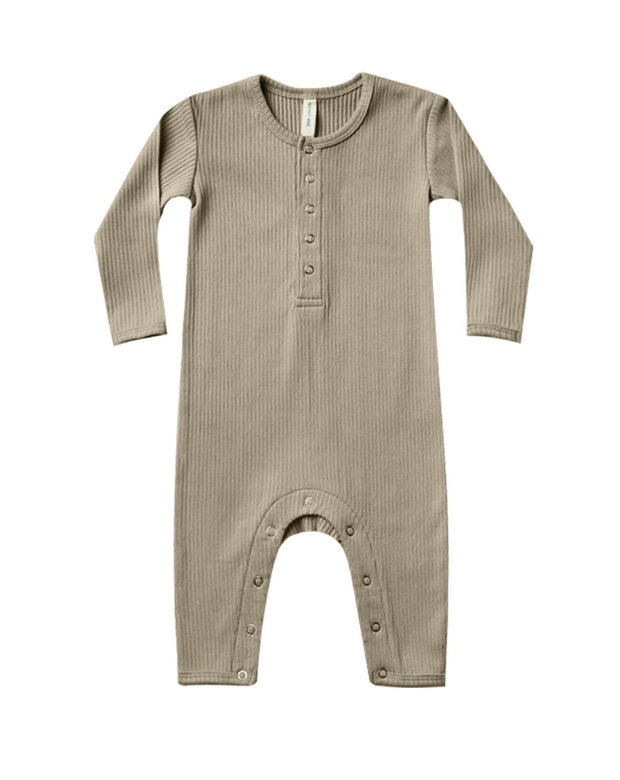 Quincy Mae Ribbed Baby Jumpsuit Olive
