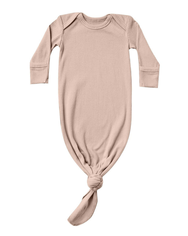 Quincy Mae Ribbed Knotted Baby Gown Petal