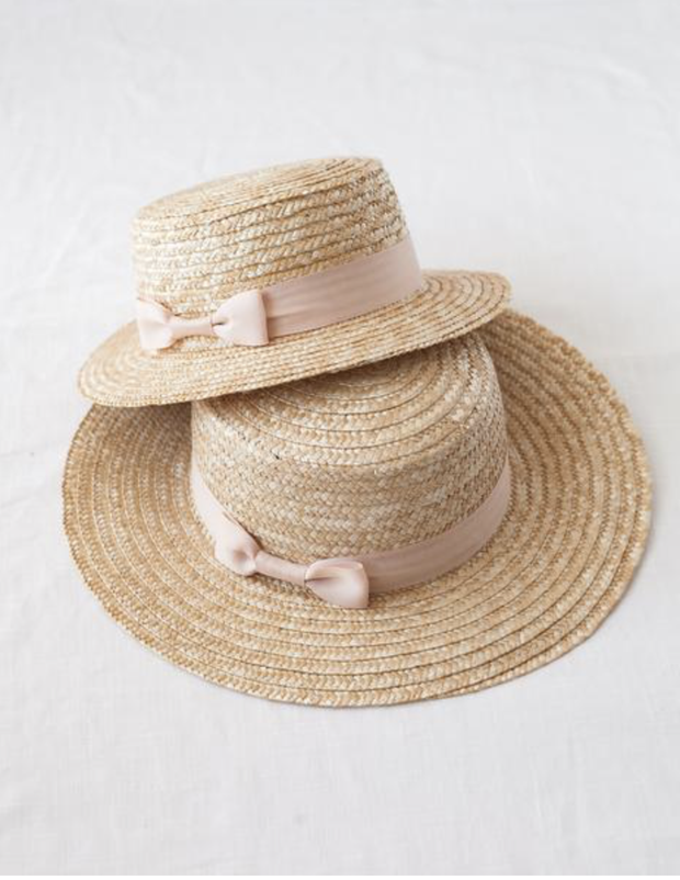Mama & Mini Daughter Straw Boater Sun Hat Pink Ribbon - WildLittleFawns