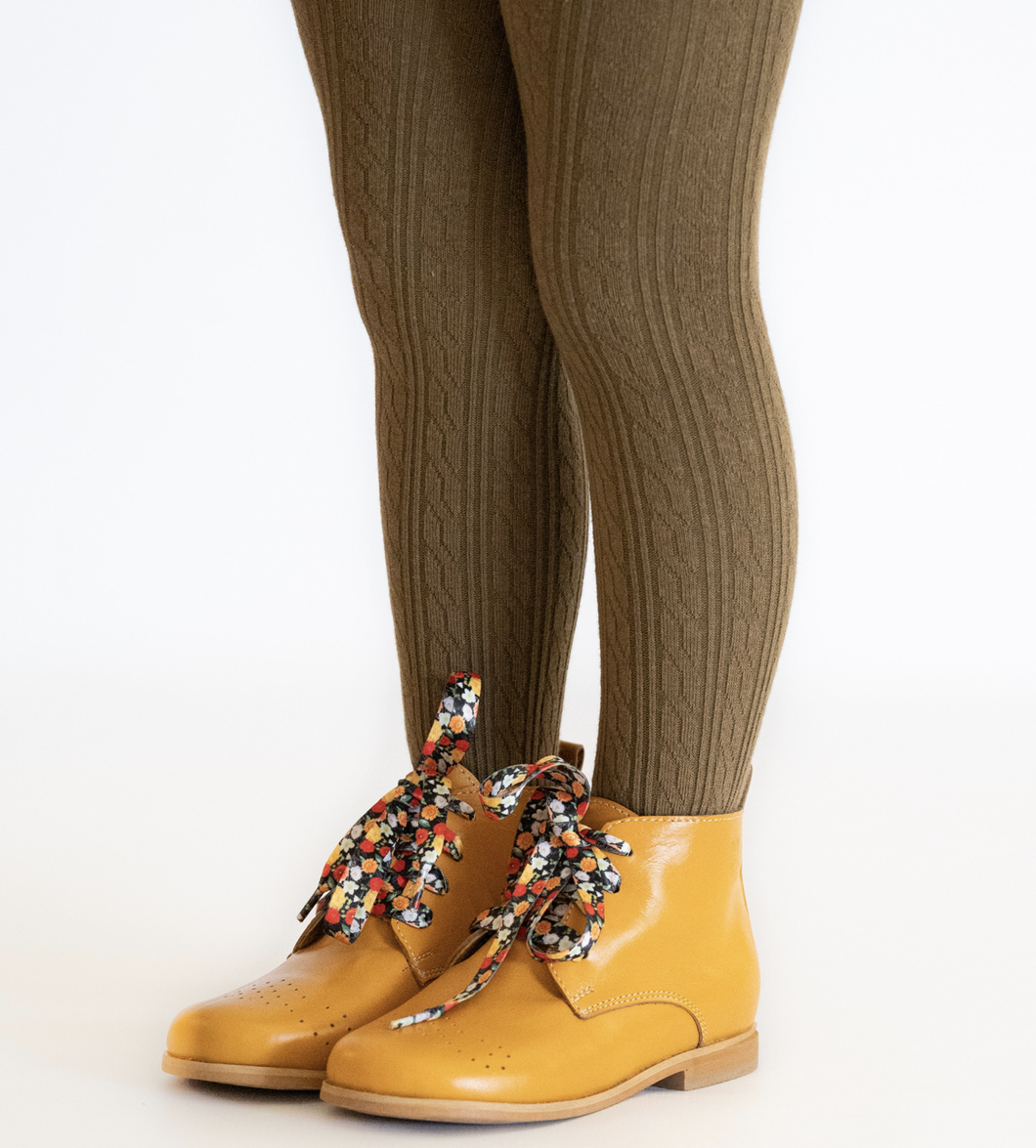 Olive Cable Knit Tights - WildLittleFawns