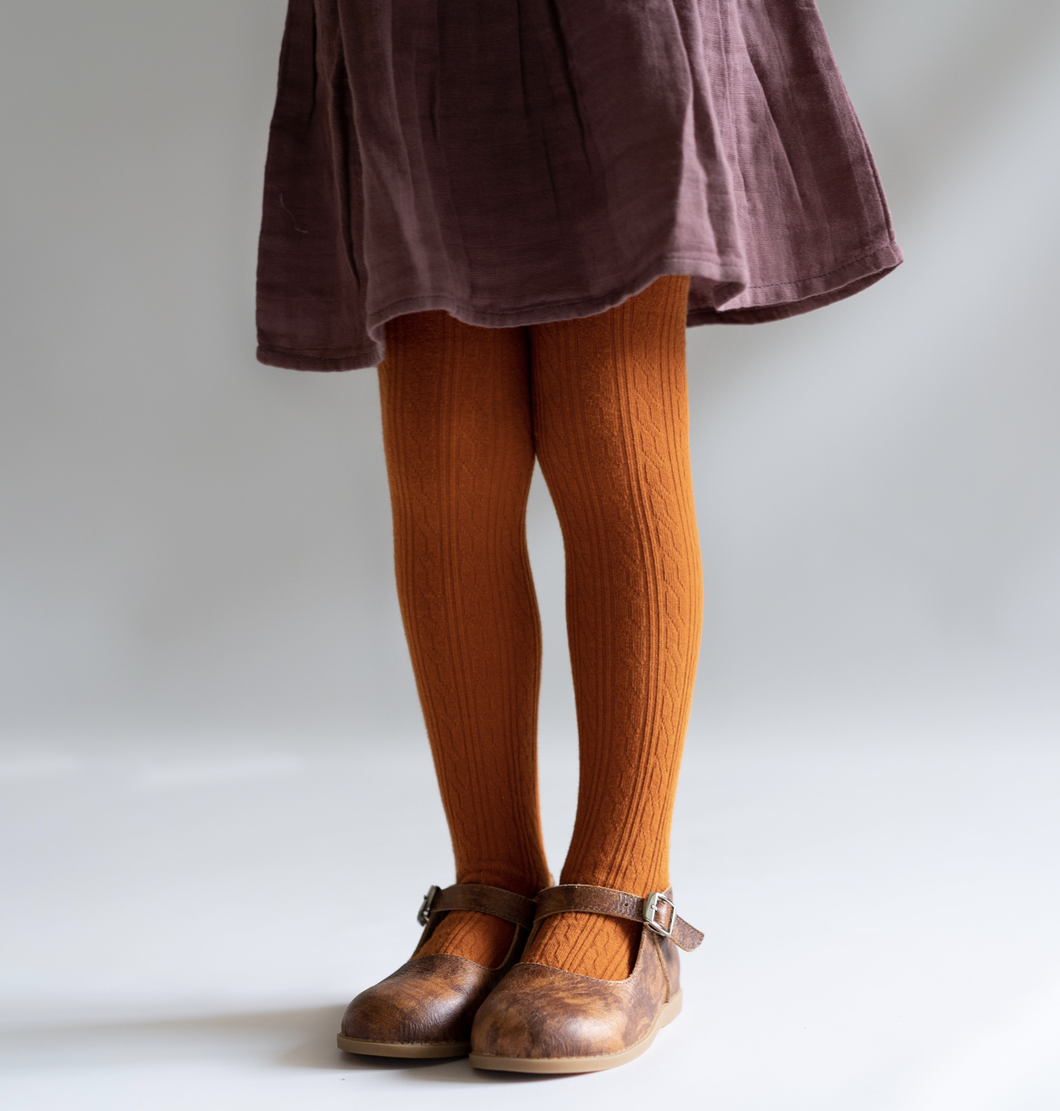 Pumpkin Spice Cable Knit Tights - WildLittleFawns