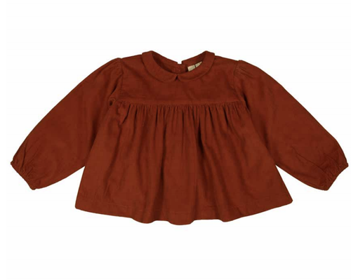 Emma Blouse Rust Needlecord - WildLittleFawns