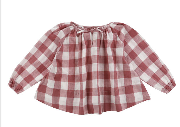 Olive Smock Textured Gingham in Mulberry - WildLittleFawns
