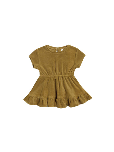 Terry Dress in Terry Cloth in Ocre - WildLittleFawns