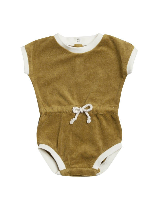 Retro Romper Terry Cloth in Ocre - WildLittleFawns