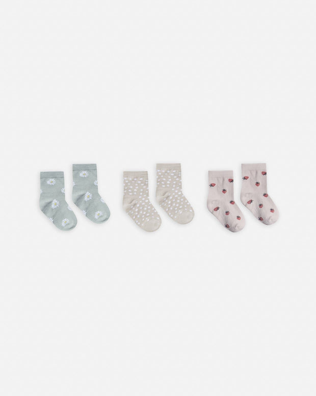 printed ankle sock set || daisy, micro dot, strawberry - WildLittleFawns