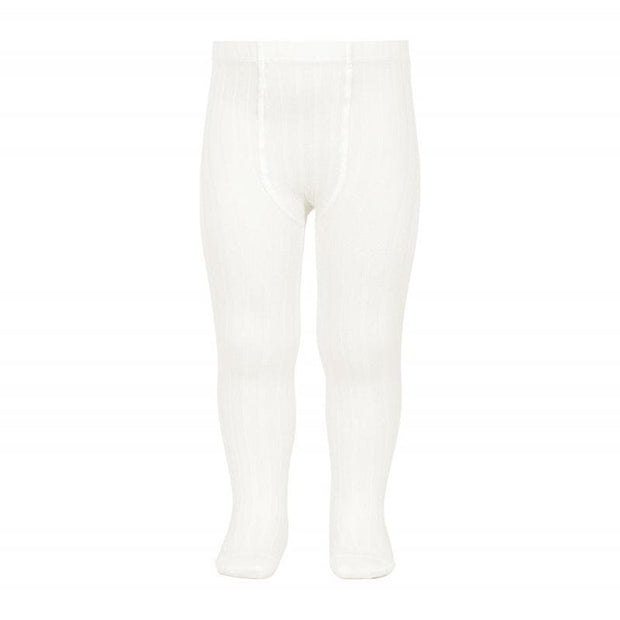 Ribbed Cotton Tights- Cream