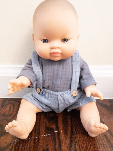 Copy of Doll Hans Ecru Set - denim blue - WildLittleFawns