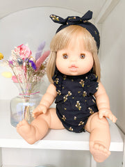 Lou Black & Gold Romper and Headband - WildLittleFawns