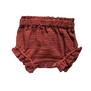 RED MUSLIN FRILL BLOOMERS - WildLittleFawns