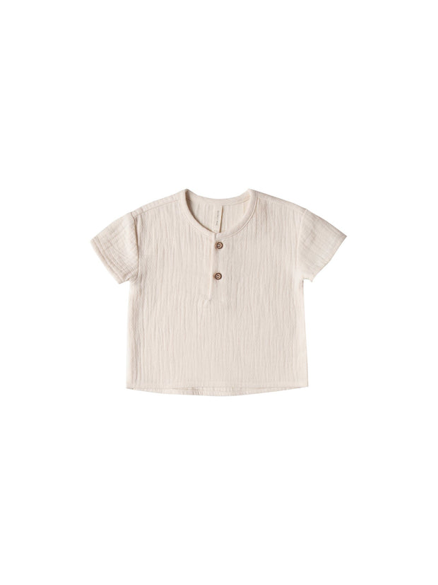 Quincy Mae Woven Henry Top - Pebble