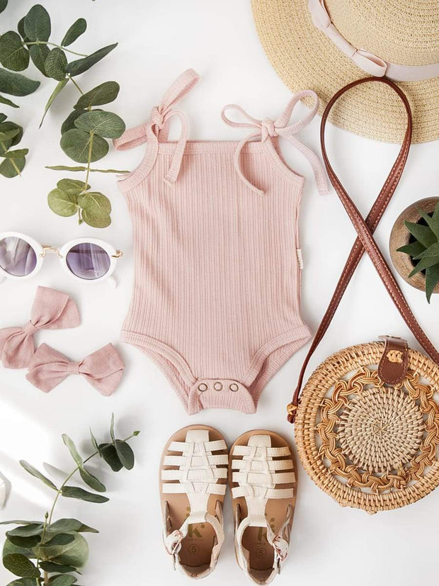 Sienna Cotton Sunsuit - Soft Pink - WildLittleFawns