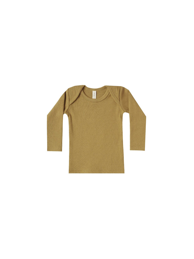Ribbed Longsleeve Lap Tee in Ocre - WildLittleFawns