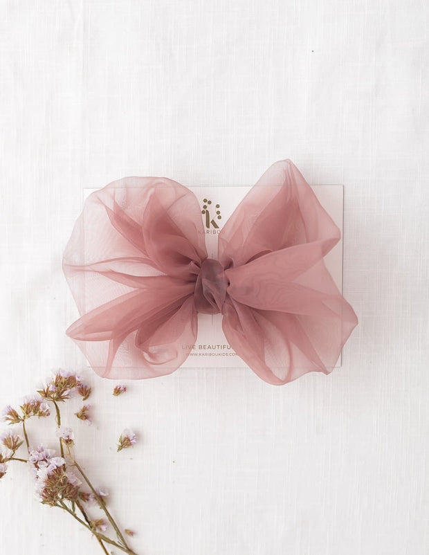 Mia Vintage Jumbo Organza Bow Hair Clip or Headband - Dusty Pink