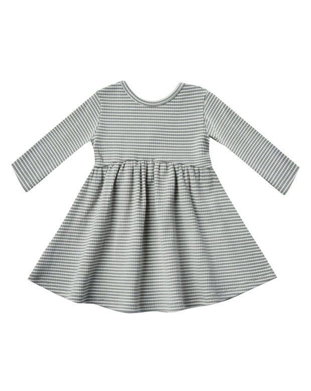 Quincy Mae Ribbed Longsleeve Dress Eucalyptus Stripe
