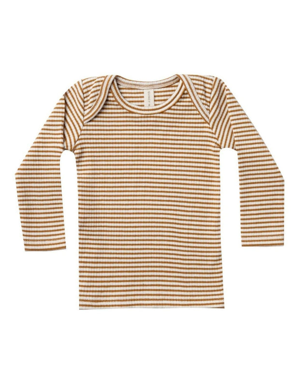 Quincy Mae Ribbed Longsleeve Lap Tee Walnut Stripe