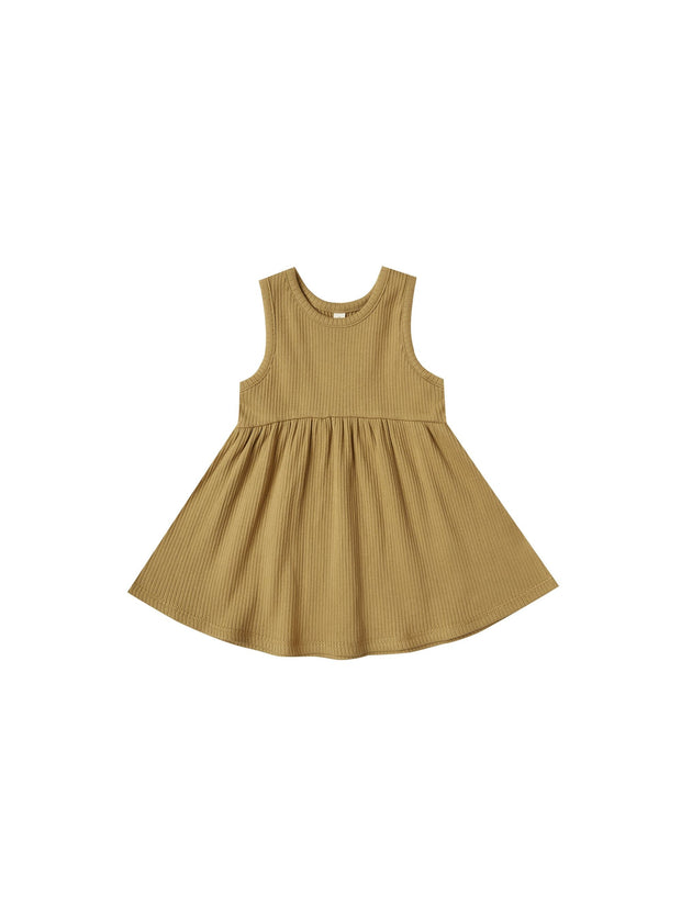 Ribbed Tank Dress in Ocre - WildLittleFawns