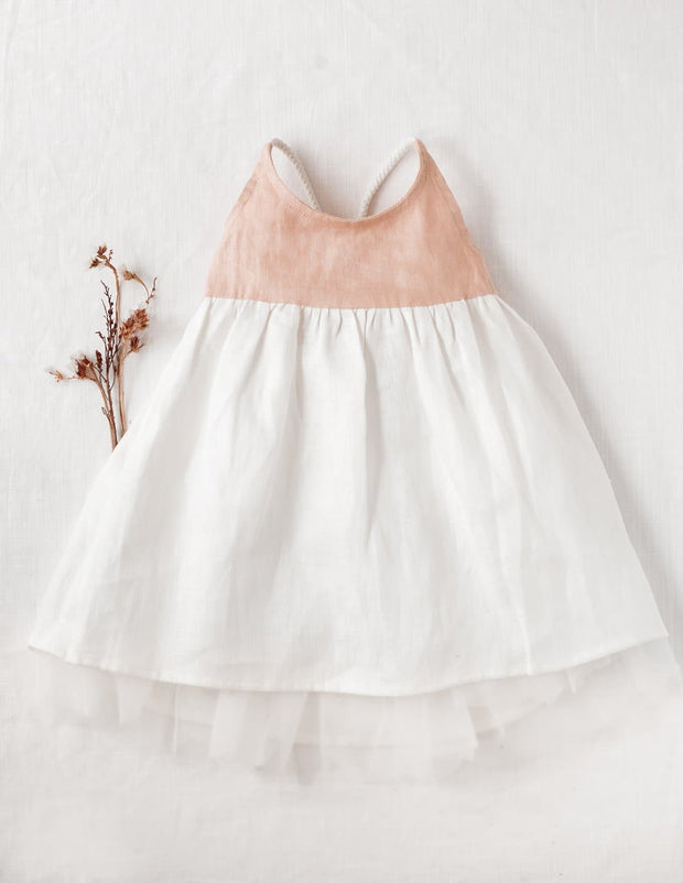 Willa Linen Tutu Dress in Peach - WildLittleFawns