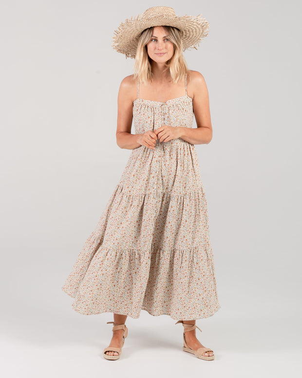 Flower Field Tiered Maxi Dress in Natural Rylee & Cru