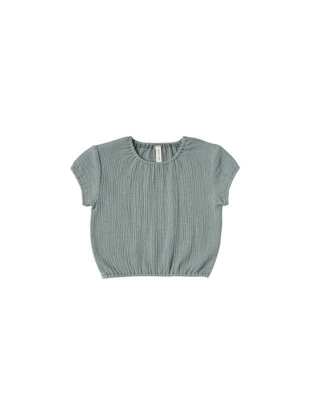 Cinched Woven Tee in Ocean Quincy Mae