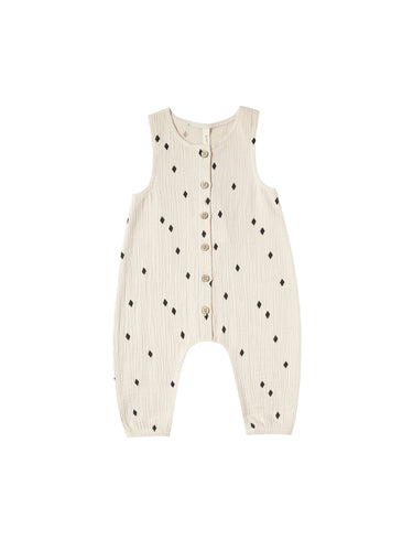 Woven Snap Jumpsuit in Natural - WildLittleFawns