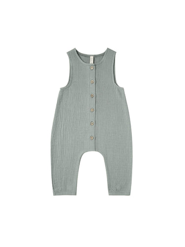 Woven Snap Jumpsuit in Ocean - WildLittleFawns