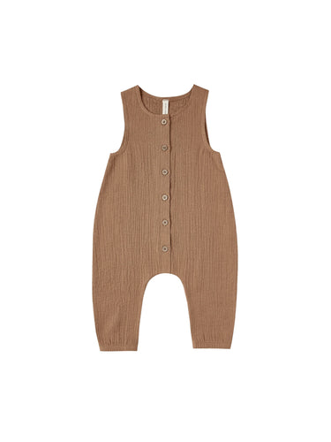 Woven Snap Jumpsuit in Rust - WildLittleFawns