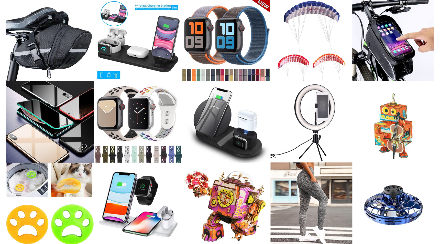 Hot Sale: Cycling Case or Pouch, Multifunctional Fast Wireless Smart Charger, iPhone Watch Band Straps, Magnetic iPhone Cases, Wooden Puzzles, Robots, Leggings, Mini Drone, LED Selfie Lightings, Dual Line Stunt Kites, Pet Hair Washing Machine Collector