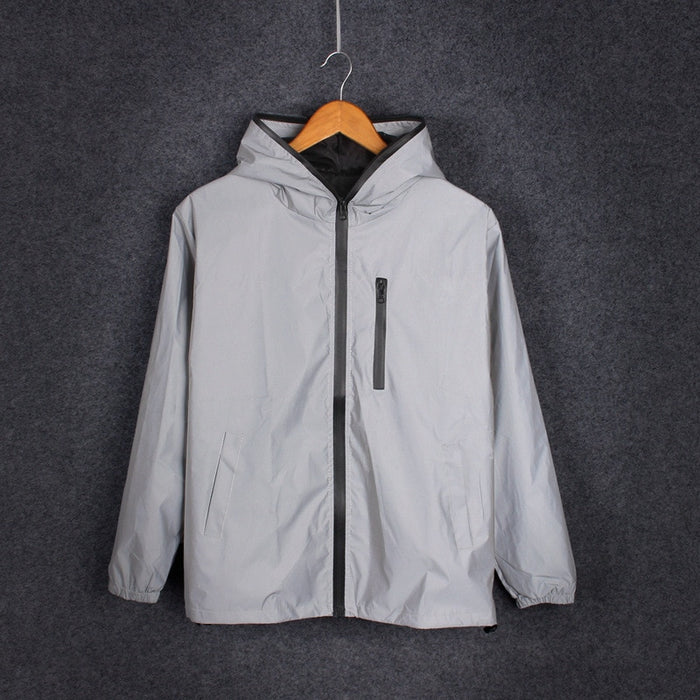Reflective Cycling Hooded Windbreaker Jacket