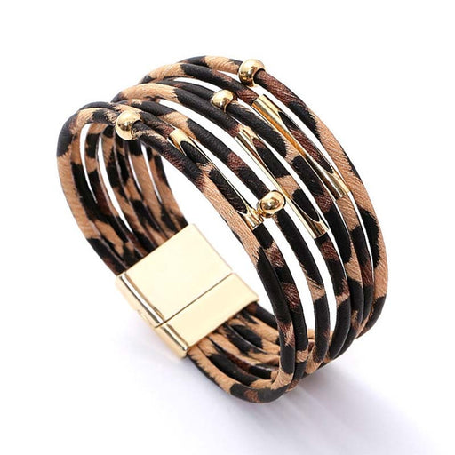 Leopard Leather Wrap Cuff Bracelet