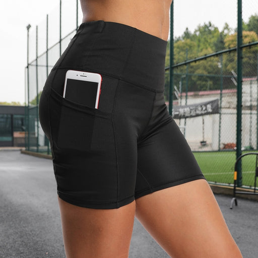 High-Waisted Running Shorts With Side Pockets & Back Pocket