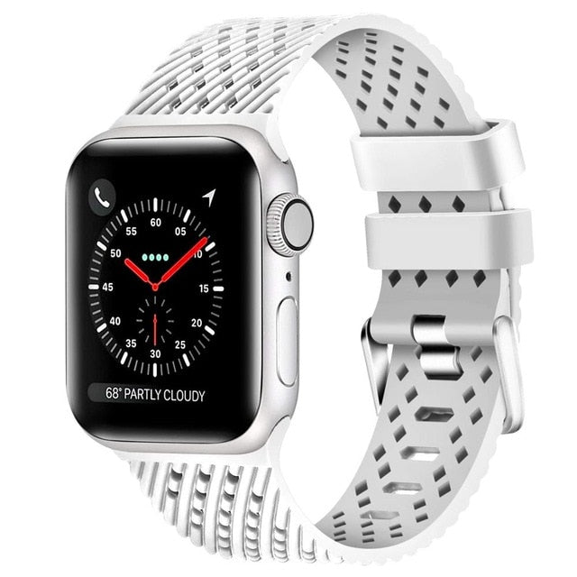 White - Rhombus Texture Silicone Sport Strap for Apple Watch Series, 5, 4, 3, 2, 1