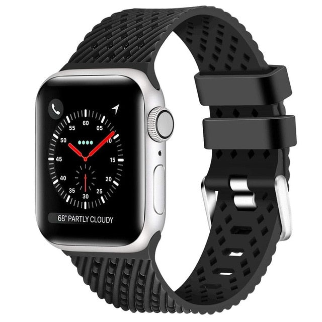 Black - Rhombus Texture Silicone Sport Strap for Apple Watch Series, 5, 4, 3, 2, 1