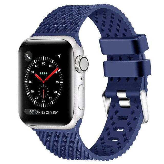 Blue - Rhombus Texture Silicone Sport Strap for Apple Watch Series, 5, 4, 3, 2, 1