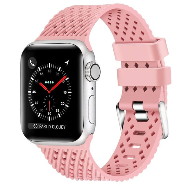 Rose Pink - Rhombus Texture Silicone Sport Strap for Apple Watch Series, 5, 4, 3, 2, 1