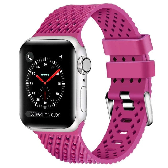 Pink - Rhombus Texture Silicone Sport Strap for Apple Watch Series, 5, 4, 3, 2, 1