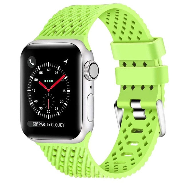 Neon Green - Rhombus Texture Silicone Sport Strap for Apple Watch Series, 5, 4, 3, 2, 1