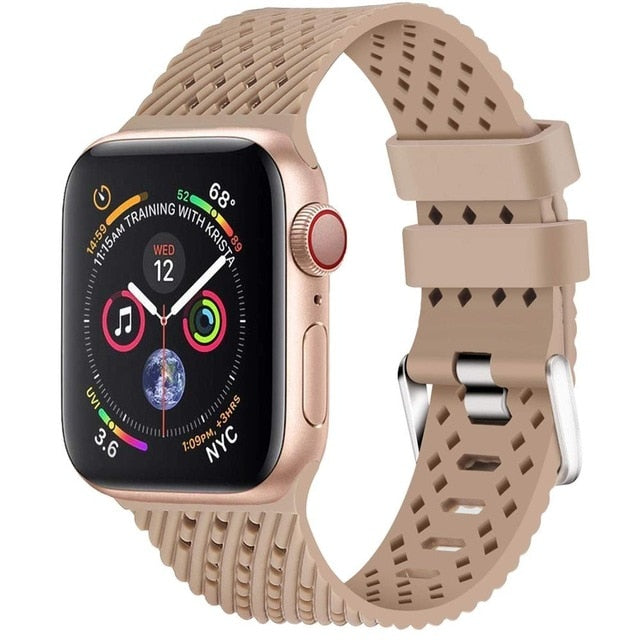 Walnut - Rhombus Texture Silicone Sport Strap for Apple Watch Series, 5, 4, 3, 2, 1